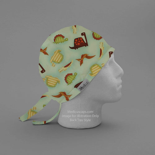 Dinosaurs in a Swamp Light Blue Scrub Cap - Medicus Scrub Caps