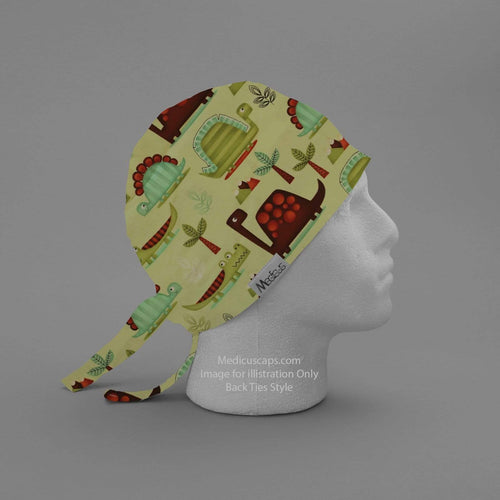 Dinosaurs in a Swamp Off White Scrub Cap - Medicus Scrub Caps