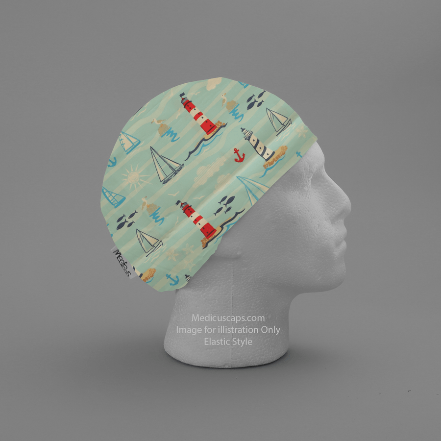 Sea Seaside Lighthouse Scrub Cap - Medicus Scrub Caps