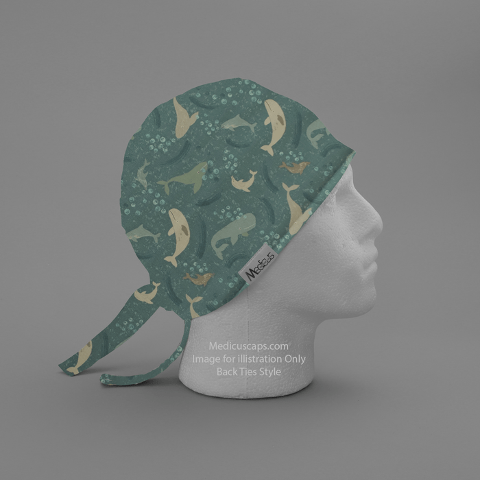 Sea Whales Light Blue Scrub Cap - Medicus Scrub Caps