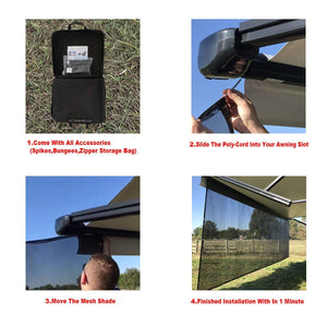 Tentproinc RV Awning Sun Shade Screen Sunshade Complete Kits -Drop 6', 7', 8', 9', 10' -All Length Choose - Black