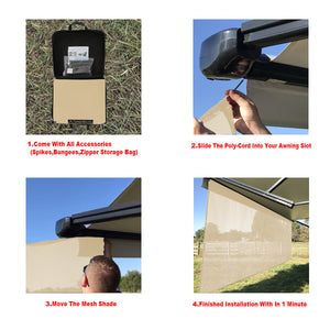 Tentproinc RV Awning Sun Shade Screen Sunshade Complete Kits -Drop 7', 8' -All Length Choose - Beige