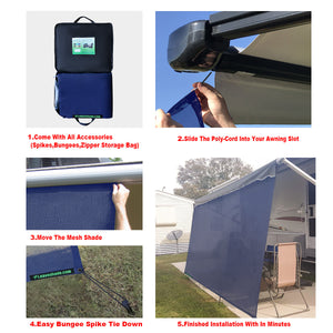 Tentproinc RV Awning Sun Shade Screen Sunshade Complete Kits -Drop 7', 8' -All Length Choose - Navy Blue
