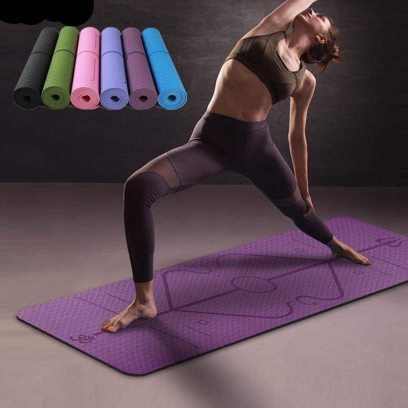 6MM TPE Yoga Mat with Position Line - The Fit Hub