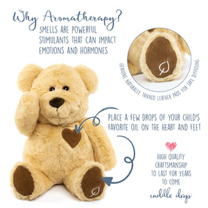 Cuddles Teddy Bear Stuffed Animal - Unique Kids Toy Gift with Natural Essential Oil Diffuser Pads