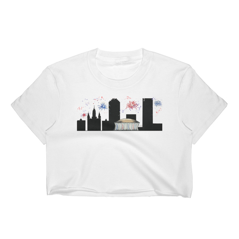 Women's New Orleans 4th of July Skyline Crop Top