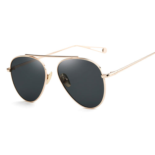 Unisex Rose Gold Mirror Retro Aviation Sunglasses