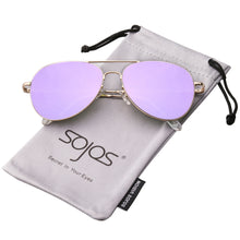 Women's Classic Aviator Mirrored Flat Lens Sunglasses