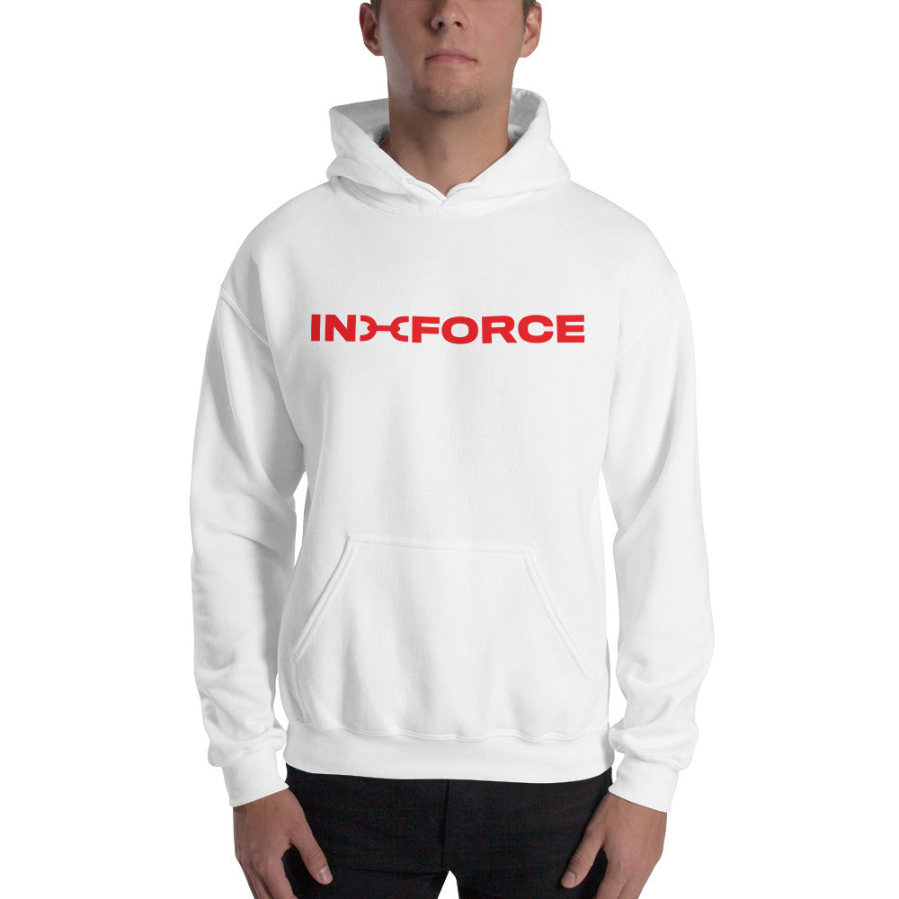 red and white inforce hoodie - INFORCE Clothing
