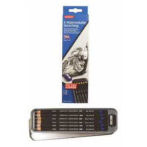 Derwent™ 6 Water-soluble Sketching Pencils Tin  (With Sharpener)