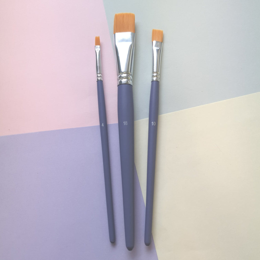 Flat Polyamide Brushes | Pack of 3