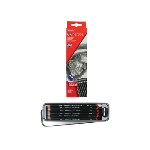 Copy of Derwent™ 6 Charcoal Sketching Pencils Tin  (With Sharpener)