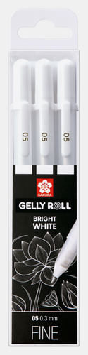 Gellyroll Bright White Gel Pens | 3 Pack | Fine