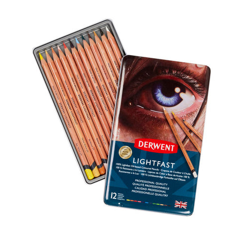 Derwent Lightfast Oil-Based Coloured Pencils | Tin of 12