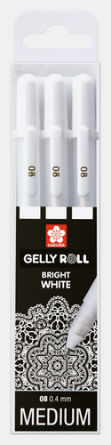 Gellyroll Bright White Gel Pens | 3 Pack | Medium