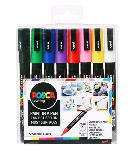 POSCA™ Pens Pack of 8 | 0.9mm Rounded Tip | PC- 3M