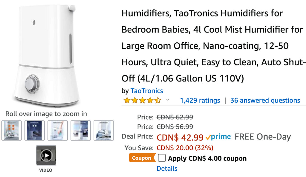 Amazon Canada Deals: Save 38% on Humidifiers for Bedroom Babies with Coupon + 38% on Brew & Serve Wooden Coffee Maker Play Set + More Offers