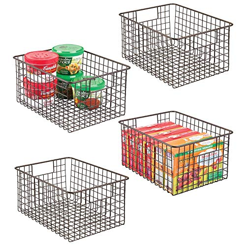 mDesign Farmhouse Decor Metal Wire Food Storage Organizer Bin Basket with Handles – for Kitchen Cabinets, Pantry, Bathroom, Laundry Room, Closets, Garage – 12″ x 9″ x 6″ – 4 Pack – Bronze