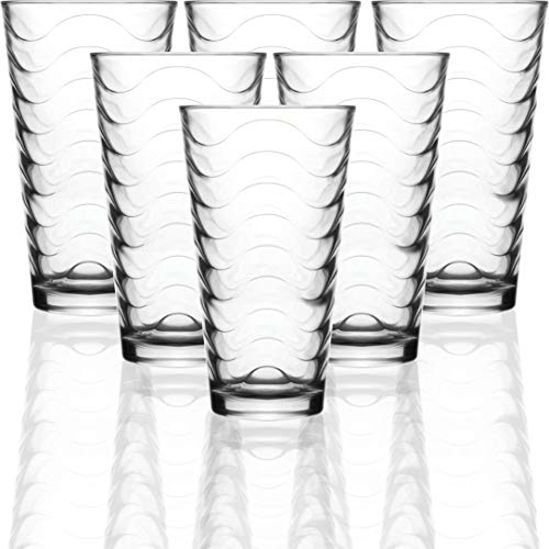 Circleware 40133 Pulse Set of 6-15.75 oz Heavy Base Highball Drinking Glasses Tumblers Ice Tea Beverage Cups Glassware for Water, Juice, Beer and Bar Decor Gifts, 6pc