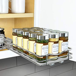 Lynk Professional 430621DS Slide Out Spice Rack Kitchen Upper Cabinet Organizer, 6″ Single, Chrome
