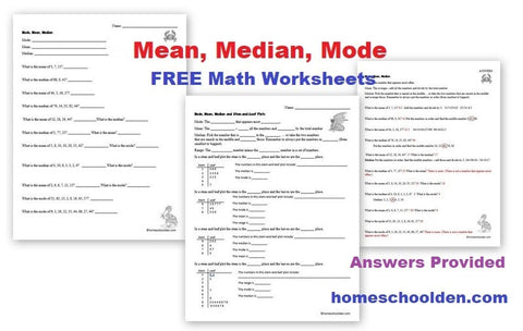 Mean, Median, Mode – Free Math Worksheets