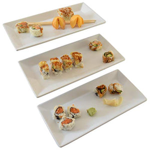 Porcelain Rectangular Serving Platters and Trays, White Serveware, Ceramic Cookie Tray for Serving