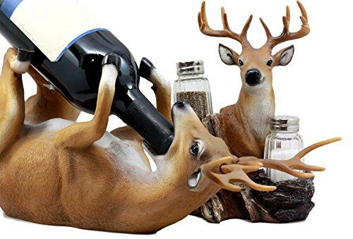 Ebros Gift Trophy Emperor Whitetail Buck Deer Wine Holder and Glass Salt & Pepper Shakers Holder Figurine Decor Set