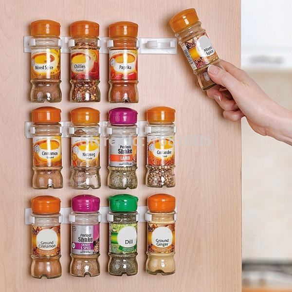 Portable Cabinet Spice Wall Rack Storage Plastic Kitchen Organizer Door Hooks