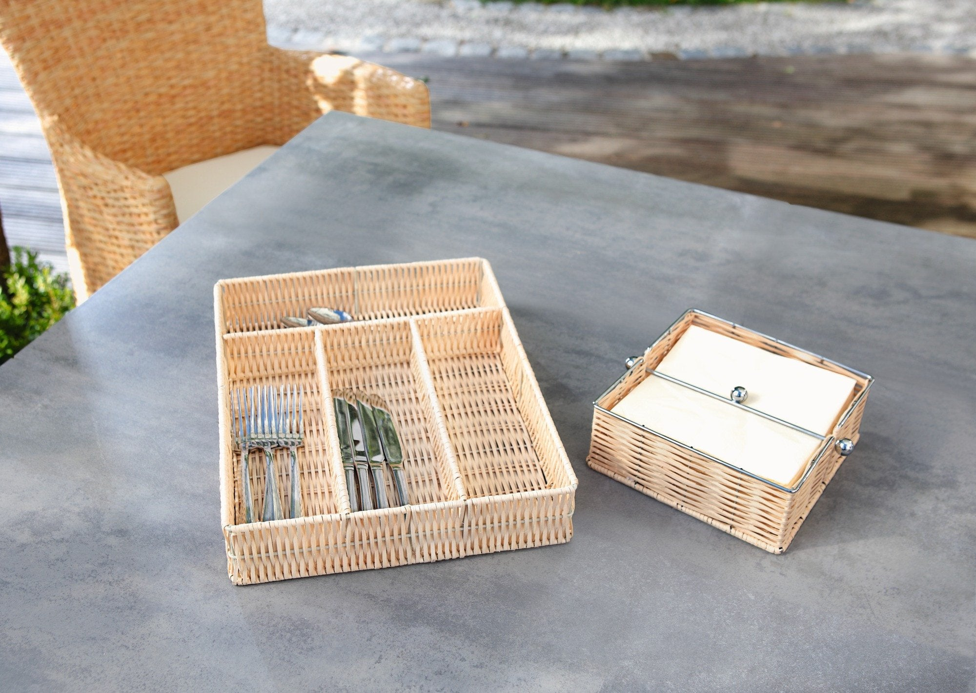 Cutlery basket organizer, Rattan Cutlery Dispenser,  Cutlery Holder, Kitchen Organizer, Cutlery Rack Tray with Rattan braided