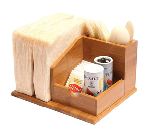QI Bamboo Small Space Kitchen Organizer Utensils Napkins Condiments Holder Storage Caddy (10450)