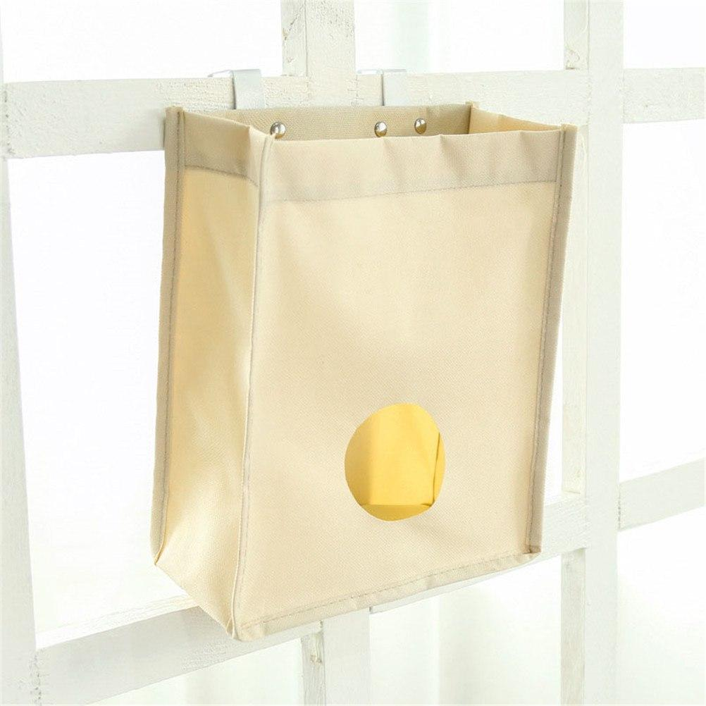 1pc Back Trash Rack Storage Bag Holder With Hook Hanging Trash Rack Oxford Extract Garbage Bags Kitchen Organizer Door