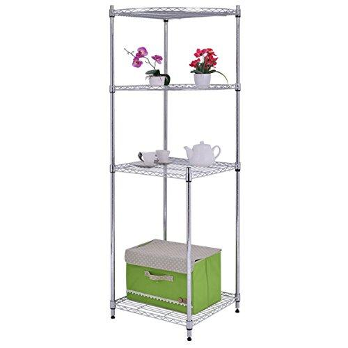 4Tier Coner Shelf Storage Rack Home Office Bathroom Kitchen Organizer Steel New