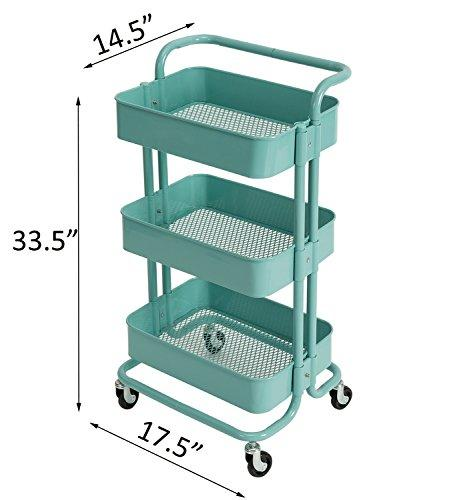 DOEWORKS Storage Cart 3 Tier Metal Utility Cart Organizer Cart with Wheels Small Art Cart Turquoise