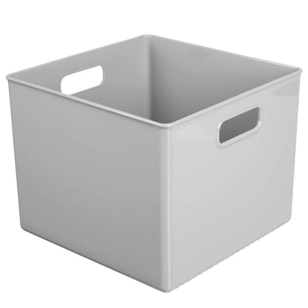 Budget mdesign plastic home storage organizer bin for cube furniture shelving in office entryway closet cabinet bedroom laundry room nursery kids toy room 10 x 10 x 8 4 pack gray