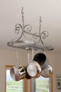 Enclume Decor Oval, Ceiling Pot Rack, Hammered Steel