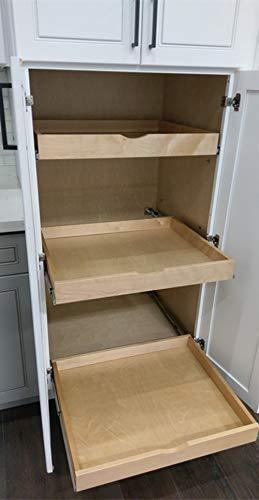 Save elysian roll wood tray drawer boxes kitchen organizers cabinet slide out shelves pull out shelf include 2 pack full extension side sliders 2 rear mounting brackets pot 6 30w x 21d