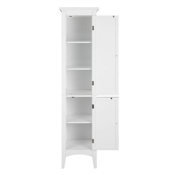 Selection elegant home fashions simon 15 in w x 63 in h x 13 1 4 in d bathroom linen storage floor cabinet with 2 shutter doors in white