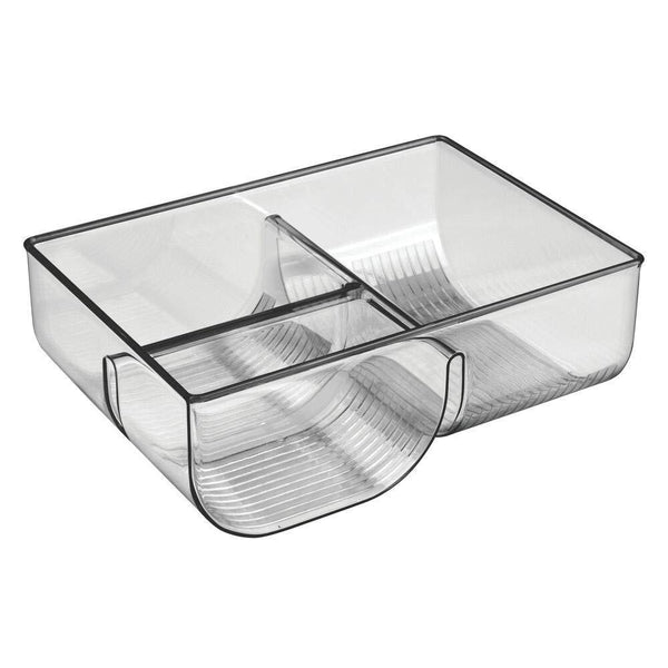 Products mdesign food storage container lid holder 3 compartment plastic organizer bin for organization in kitchen cabinets cupboards pantry shelves 2 pack smoke gray