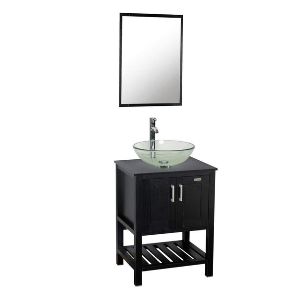 Results 24 bathroom vanity and sink combo stand cabinet mdf board cabinet tempered glass vessel sink round clear sink bowl 1 5 gpm water save chrome faucet solid brass pop up drain w mirror