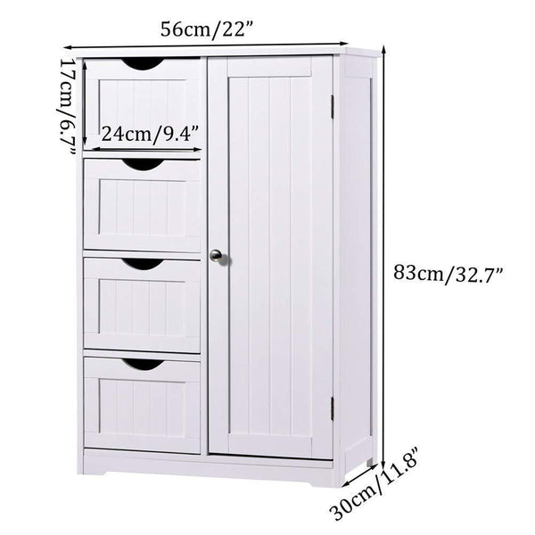 Selection bathroom floor cabinet crazylynx free standing wooden storage cabinet organizer with 4 drawers and one cupboard 22 x 32 7 for home garden office off white