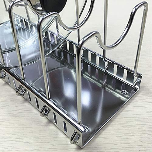 Adjustable Rack Pot Lid & Pan - Shelf Dish Drainer Shelves Multifunctional Organizers For The Kitchen (Large With 7 Holders)