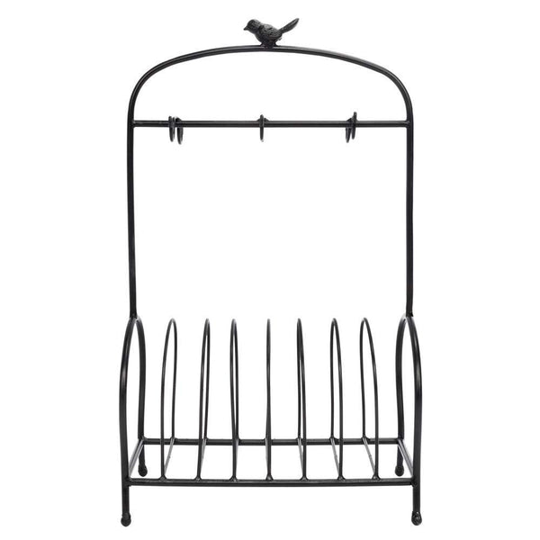Buy now festnight metal kitchen dish coffee mug cup holder with 6 hooks bird cage shape meal tray holder display rack organizer stand for table counter cabinet 20 9 x 12 2 x 6 7 l x w x h black