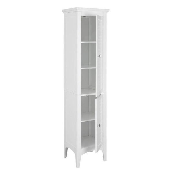 Save on elegant home fashions simon 15 in w x 63 in h x 13 1 4 in d bathroom linen storage floor cabinet with 2 shutter doors in white
