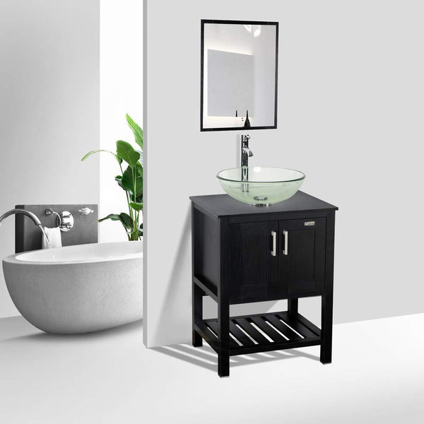 Budget friendly 24 bathroom vanity and sink combo stand cabinet mdf board cabinet tempered glass vessel sink round clear sink bowl 1 5 gpm water save chrome faucet solid brass pop up drain w mirror a16b06