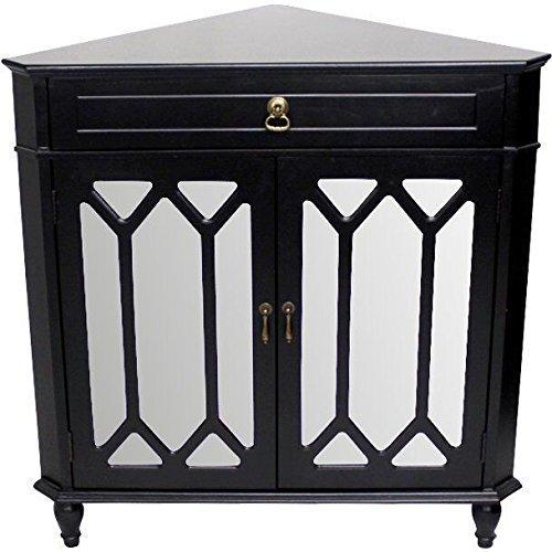 Buy now heather ann creations the dorset collection contemporary style wooden double door floor storage living room corner cabinet with hexagonal mirror inserts and 1 drawer black