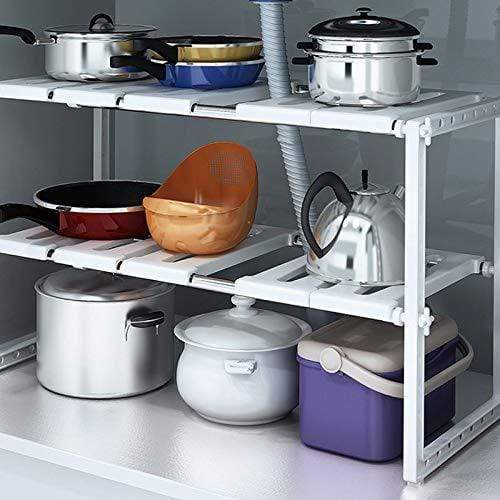 Products chx stainless steel retractable under sink storage shelf shelf kitchen rack cabinet storage rack pot rack dish rack chxsf
