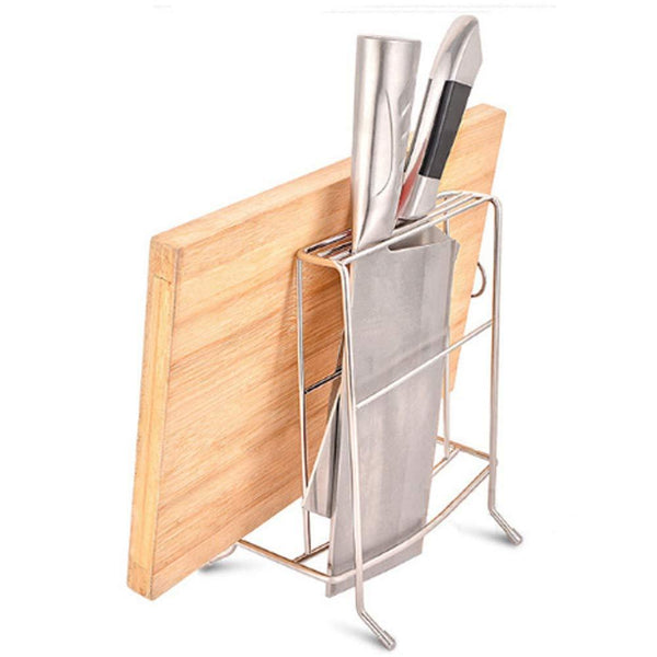 Kingwa Stainless Steel Chopping Board Holder,with 2 Slot for kitchen Knife,and 1 Slot for Chopping Board or Pot Lid