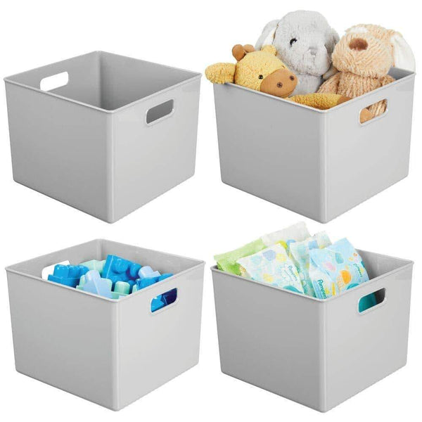 Top rated mdesign plastic home storage organizer bin for cube furniture shelving in office entryway closet cabinet bedroom laundry room nursery kids toy room 10 x 10 x 8 4 pack gray