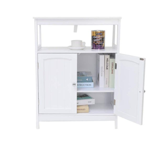 Save iwell bathroom floor storage cabinet with 1 adjustable shelf 3 heights available free standing kitchen cupboard wooden storage cabinet with 2 doors office furniture white ysg002b