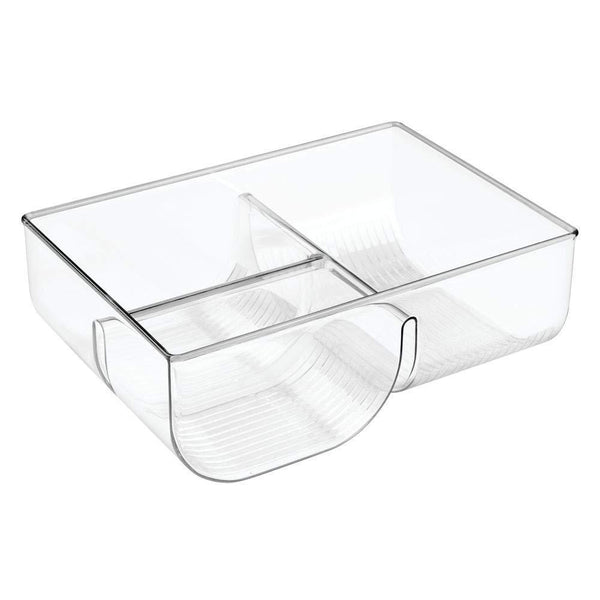 Online shopping mdesign food storage container lid holder 3 compartment plastic organizer bin for organization in kitchen cabinets cupboards pantry shelves clear